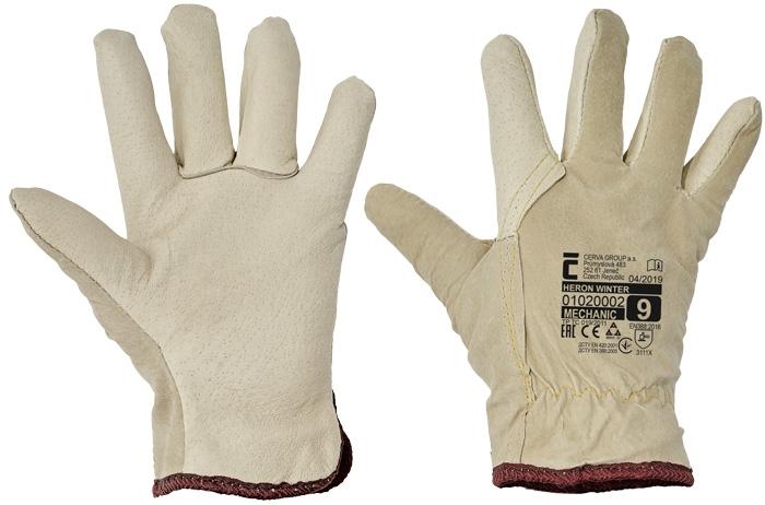 Manusi de protectie de iarna Cerva HERON WINTER, piele porc 0