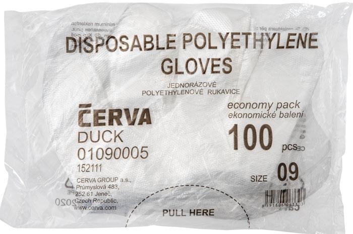 Manusi din polietilena Cerva DUCK, unica folosinta, 100 buc 1