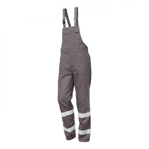 Pantaloni cu pieptar cu benzi reflectorizante Renania RADAR, 100% bumbac, 260gr/mp 0