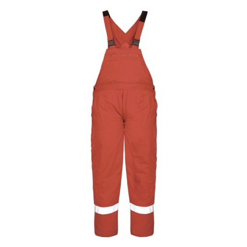 Pantaloni cu pieptar de iarna cu benzi reflectorizante Renania PILZEN, tercot 65/35 0