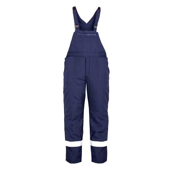 Pantaloni cu pieptar de iarna cu benzi reflectorizante Renania PILZEN, tercot 65/35 [0]