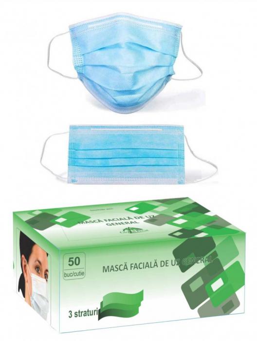 Set 50 bucati - semi masca faciala de uz general ROGLOBAL, 3 pliuri, 3 straturi 2