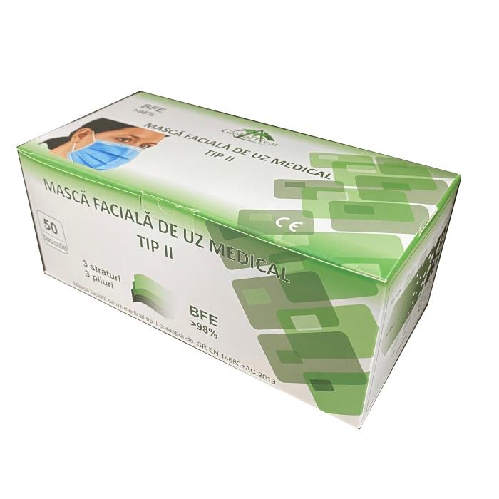 Set 50 bucati - semi masca faciala de uz medical tip II ROGLOBAL, bfe>98%, EN 14683 1