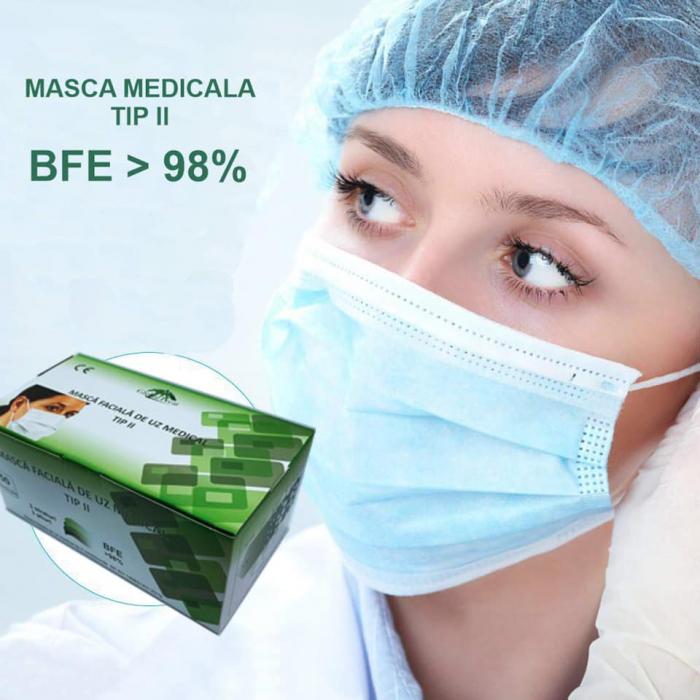 Set 50 bucati - semi masca faciala de uz medical tip II ROGLOBAL, bfe>98%, EN 14683 0