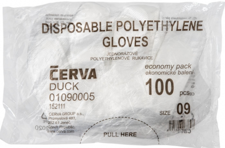 Manusi din polietilena Cerva DUCK, unica folosinta, 100 buc1