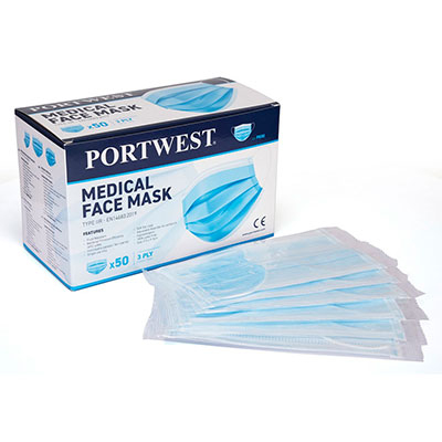 Set 50 bucati - semi masca medicala Portwest TIP IIR, ambalata individual, EN 146830