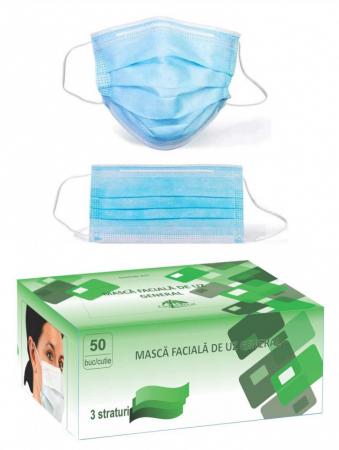 Set 50 bucati - semi masca faciala de uz general ROGLOBAL, 3 pliuri, 3 straturi2