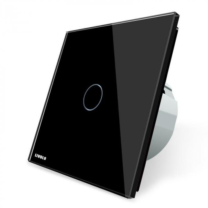 Întrerupător tactil negru dublu, cap-scară, Livolo VL-C702S-12 0