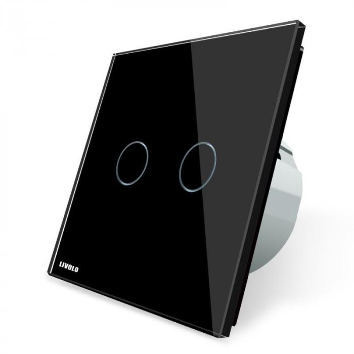 Întrerupător dublu Livolo, cap-scară, wireless, Negru Livolo VL-C702SR-12 0