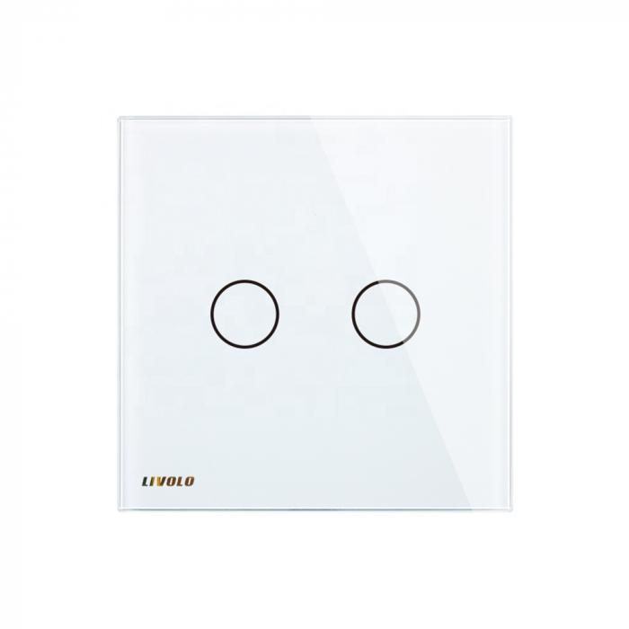 Întrerupător dublu Livolo, wireless, Alb Livolo VL-C702R-11 1