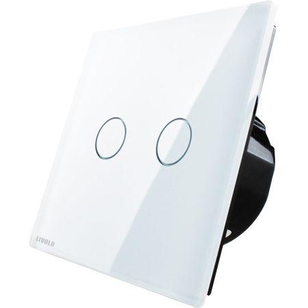 Întrerupător dublu Livolo, wireless, Alb Livolo VL-C702R-11 0
