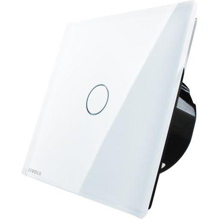 Întrerupător simplu Livolo, cap-scară, wireless, Alb Livolo VL-C701SR-11 0