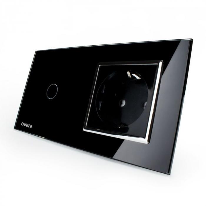 Întrerupător tactil simplu si priză simplă Livolo, Negru 0