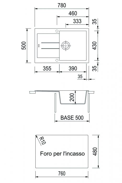 Chiuveta bucatarie granit CookingAid Amanda AM7810 Alba Galbui / Jasmine reversibila stanga/dreapta cu picurator [2]