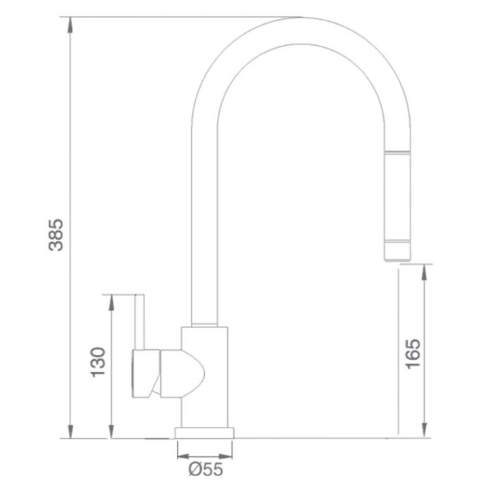 Baterie CookingAid RODI LINE MN 1011 cu furtun dus retractabil / extractibil si finisaj Cromat [6]