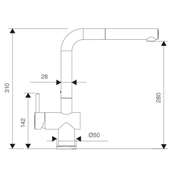Baterie CookingAid RODI LINE MN 807 cu cap retractabil / extractibil si finisaj Cromat [2]