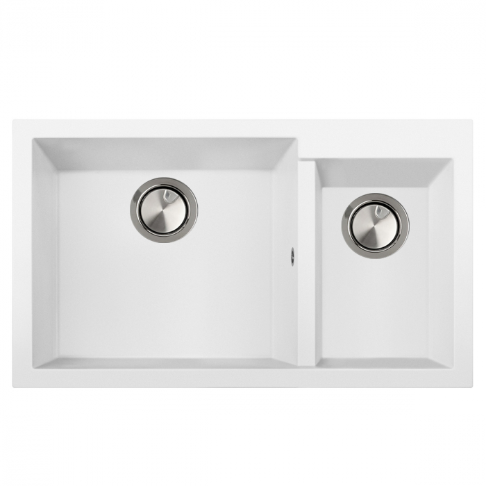 Chiuveta bucatarie granit dubla cu 2 cuve CookingAid Cube ON8620 Alba / Polar White 1