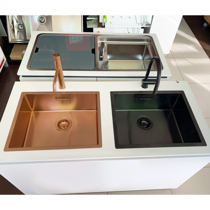 Chiuveta bucatarie inox CookingAid BOX LUX 50 COPPER cu strat PVD ceramic culoare cupru + accesorii montaj [8]