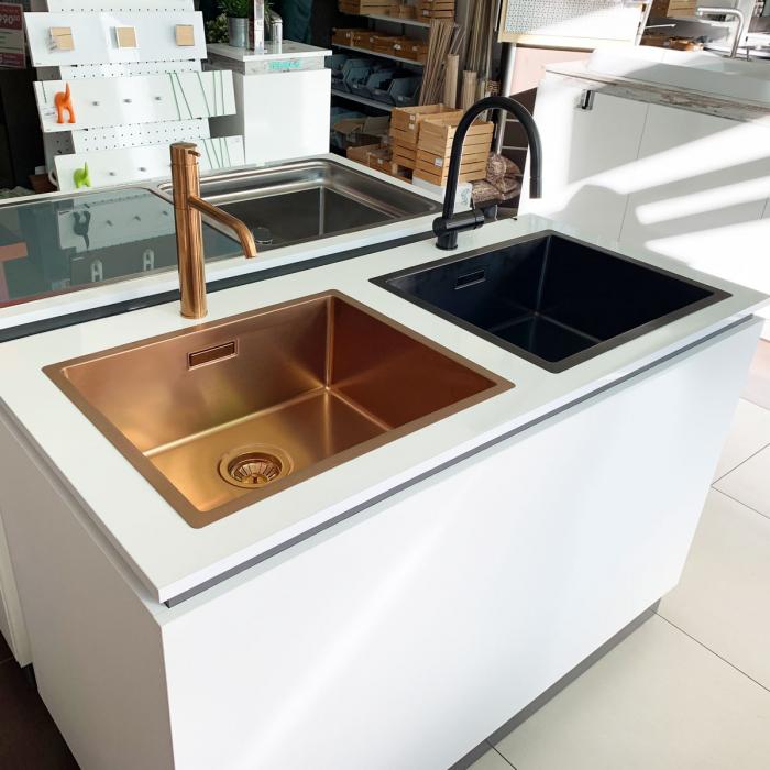 Chiuveta bucatarie inox CookingAid BOX LUX 50 COPPER cu strat PVD ceramic culoare cupru + accesorii montaj [9]