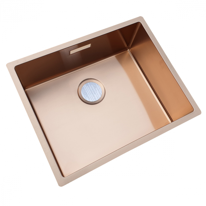 Chiuveta bucatarie inox CookingAid BOX LUX 50 COPPER cu strat PVD ceramic culoare cupru + accesorii montaj [3]
