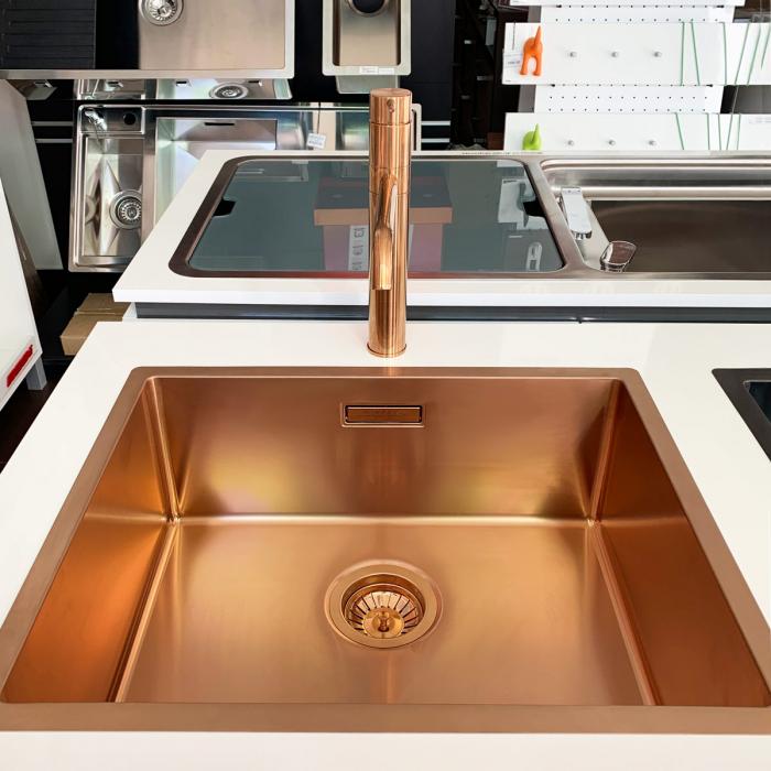 Chiuveta bucatarie inox CookingAid BOX LUX 50 COPPER cu strat PVD ceramic culoare cupru + accesorii montaj [6]