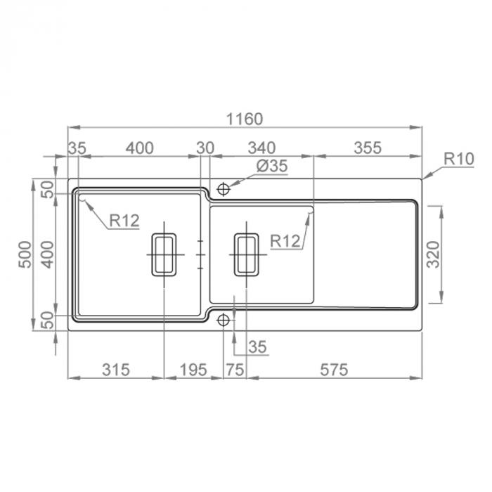 Chiuveta bucatarie inox CookingAid EVO 116 dubla cu 2 cuve + picurator reversibila 10