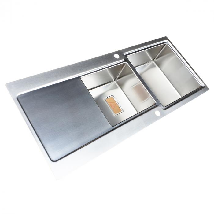 Chiuveta bucatarie inox CookingAid EVO 116 dubla cu 2 cuve + picurator reversibila 6