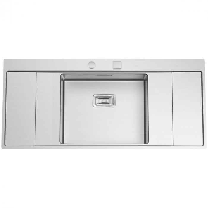 Chiuveta bucatarie inox CookingAid XERON B50 reversibila cu ventil scurgere dreptunghiular automat si accesorii montaj 1