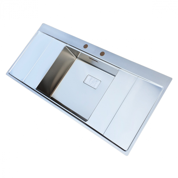 Chiuveta bucatarie inox CookingAid XERON B50 reversibila cu ventil scurgere dreptunghiular automat si accesorii montaj 4