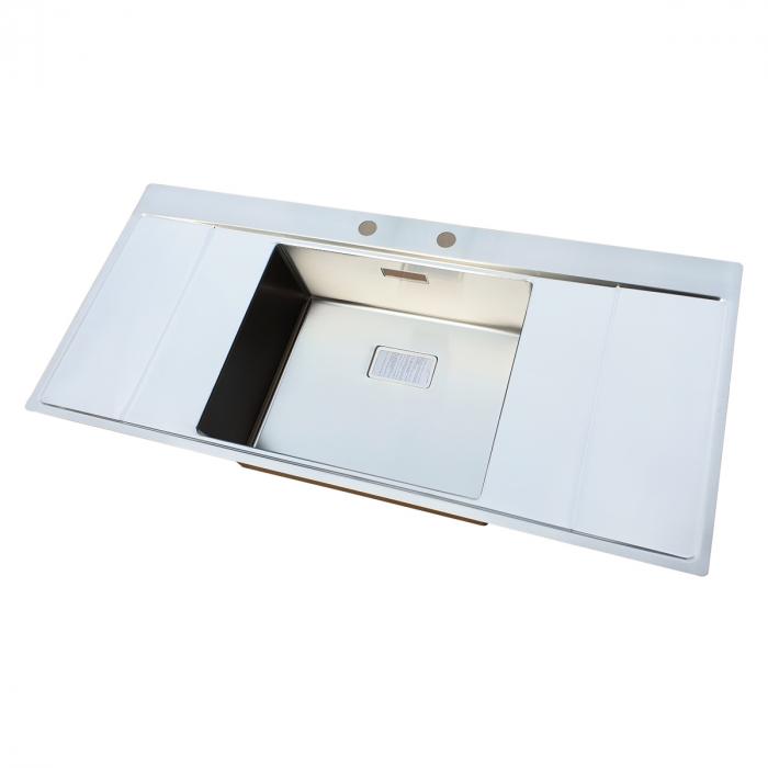 Chiuveta bucatarie inox CookingAid XERON B50 reversibila cu ventil scurgere dreptunghiular automat si accesorii montaj 5