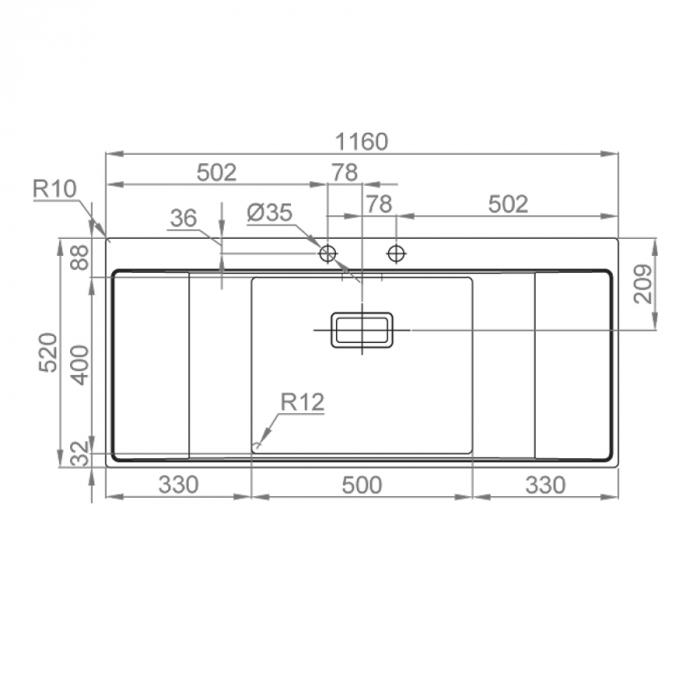 Chiuveta bucatarie inox CookingAid XERON B50 reversibila cu ventil scurgere dreptunghiular automat si accesorii montaj 6