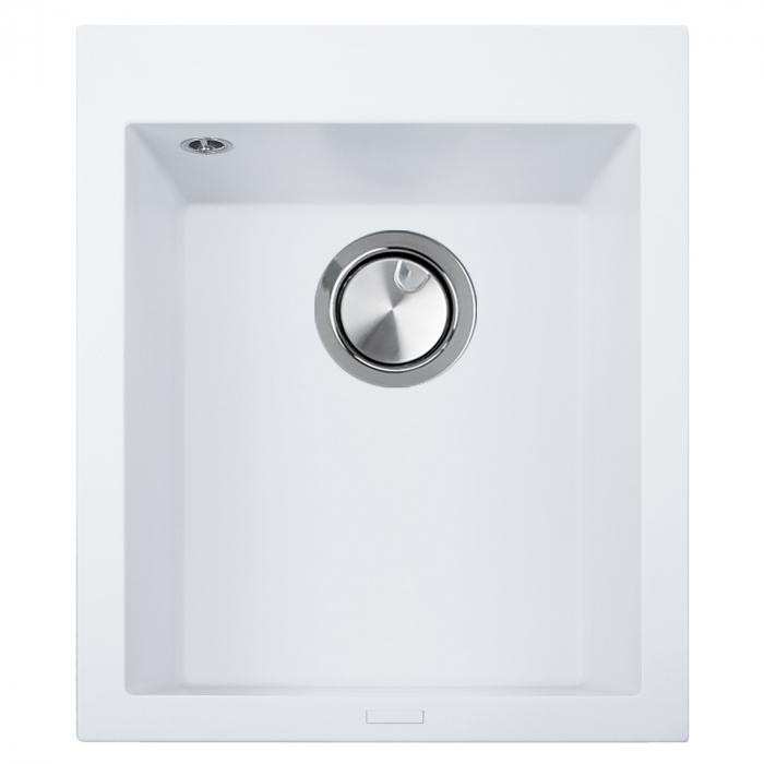 Chiuveta bucatarie granit CookingAid Cube ON4110 Alba / Polar White + accesorii montaj 0