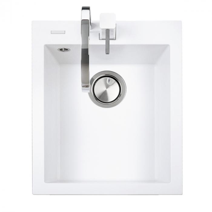 Chiuveta bucatarie granit CookingAid Cube ON4110 Alba / Polar White + accesorii montaj 1