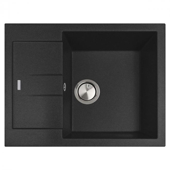 Chiuveta bucatarie granit CookingAid Amanda AM6510 Neagra / Black Metal quartz reversibila stanga/dreapta cu picurator + accesorii montaj 1