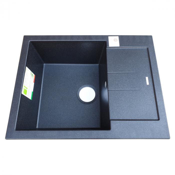 Chiuveta bucatarie granit CookingAid Amanda AM6510 Neagra / Black Metal quartz reversibila stanga/dreapta cu picurator + accesorii montaj 3