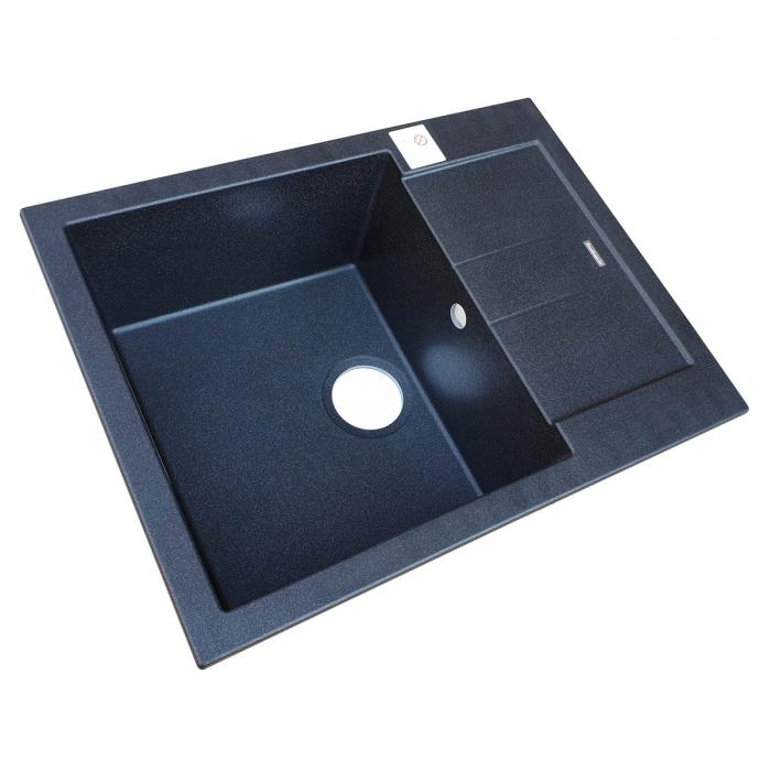 Chiuveta bucatarie granit CookingAid Amanda AM6510 Neagra / Black Metal quartz reversibila stanga/dreapta cu picurator + accesorii montaj 5