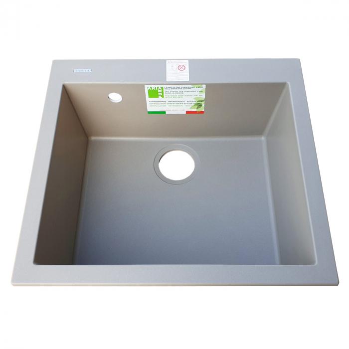 Chiuveta bucatarie granit CookingAid Cube ON5610 Trufa Maro / Truffle + accesorii montaj 4