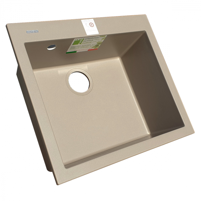 Chiuveta bucatarie granit CookingAid Cube ON5610 Trufa Maro / Truffle + accesorii montaj 7