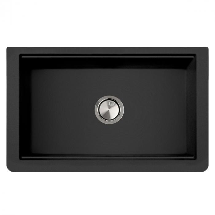 Chiuveta bucatarie granit reversibila CookingAid Lux LX8410 Farm House Apron Neagra / Black Metal Quartz + accesorii montaj 14