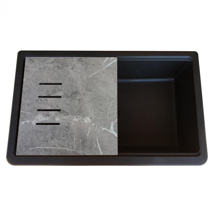 Chiuveta bucatarie granit reversibila CookingAid Lux LX8410 Farm House Apron Neagra / Black Metal Quartz + accesorii montaj 4