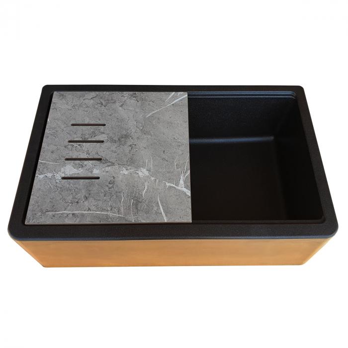 Chiuveta bucatarie granit reversibila CookingAid Lux LX8410 Farm House Apron Neagra / Black Metal Quartz + accesorii montaj 6