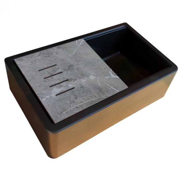 Chiuveta bucatarie granit reversibila CookingAid Lux LX8410 Farm House Apron Neagra / Black Metal Quartz + accesorii montaj 7