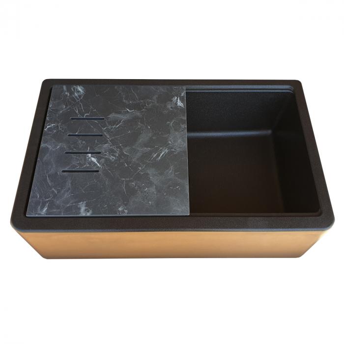 Chiuveta bucatarie granit reversibila CookingAid Lux LX8410 Farm House Apron Neagra / Black Metal Quartz + accesorii montaj 9