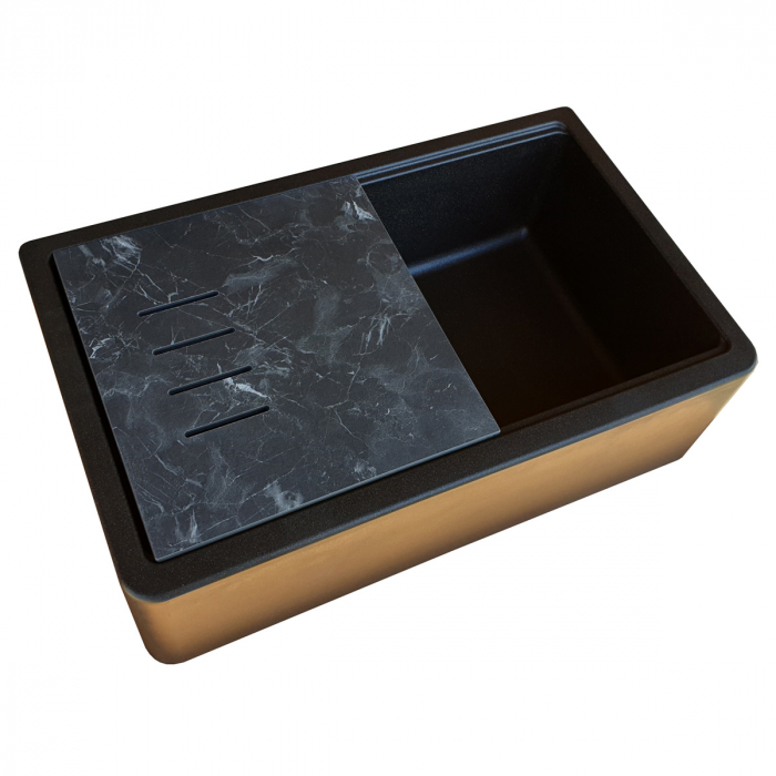 Chiuveta bucatarie granit reversibila CookingAid Lux LX8410 Farm House Apron Neagra / Black Metal Quartz + accesorii montaj 10