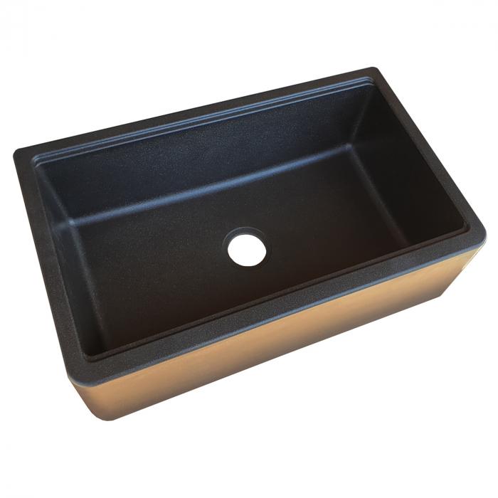 Chiuveta bucatarie granit reversibila CookingAid Lux LX8410 Farm House Apron Neagra / Black Metal Quartz + accesorii montaj 11