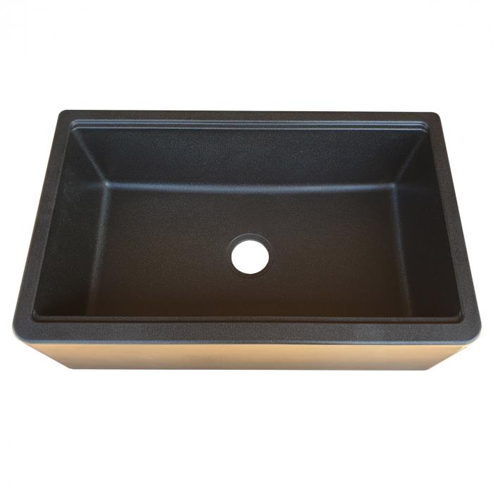 Chiuveta bucatarie granit reversibila CookingAid Lux LX8410 Farm House Apron Neagra / Black Metal Quartz + accesorii montaj 2