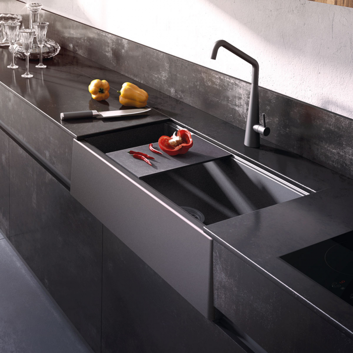 Chiuveta bucatarie granit reversibila CookingAid Lux LX8410 Farm House Apron Neagra / Black Metal Quartz + accesorii montaj 0