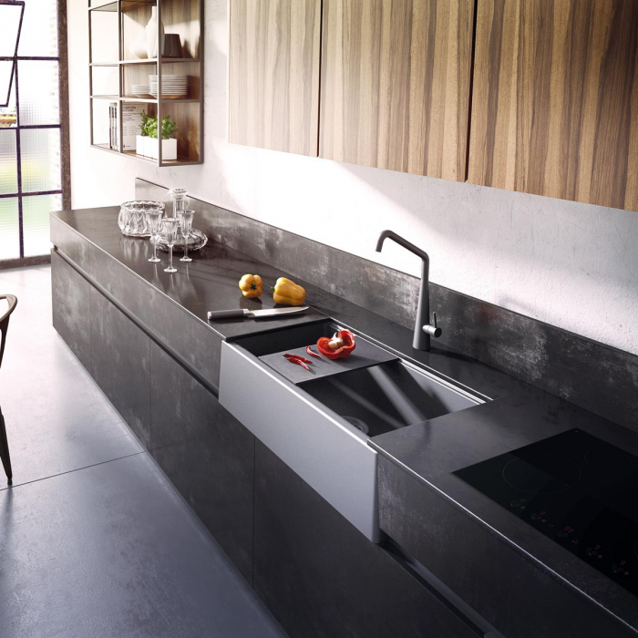 Chiuveta bucatarie granit reversibila CookingAid Lux LX8410 Farm House Apron Neagra / Black Metal Quartz + accesorii montaj 1