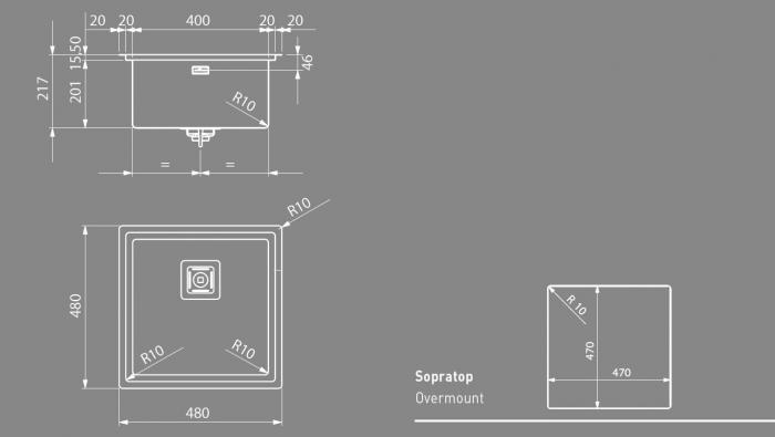 ARTINOX Chiuveta bucatarie Frame 40 din inox cu o cuva [4]