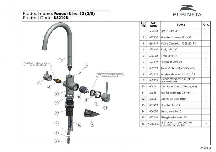 Baterie 3 cai Rubineta Ultra 32 apa rece / calda / filtru apa cu finisaj cromat [9]